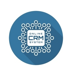 Online crm system icon flat design vector