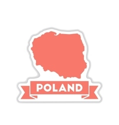 Paper sticker on white background map of poland vector