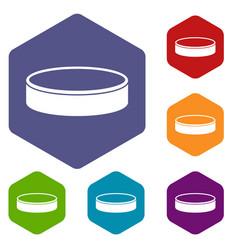 Puck icons set hexagon vector