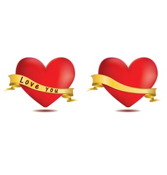 Red hearts with ribbon vector