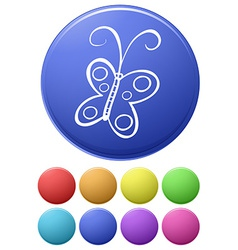 Small buttons and a big button with a butterfly vector image