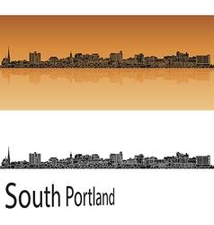 South portland skyline in orange vector
