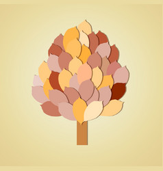 tree with leaves on yellow background vector image