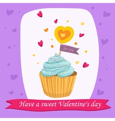 Valentines day card with sweet cupcake vector