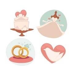 wedding with marriage symbols vector image