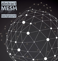 Wireframe abstract black and white lined 3d vector