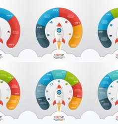 3 8 steps startup circle infographic templates set vector image