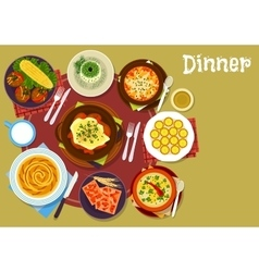 Bulgarian cuisine dinner icon for menu design vector