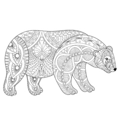 Zentangle polar bear head for adult anti stress vector