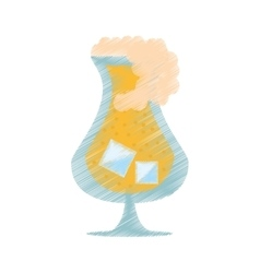 drawing glass drink beverage liqueur ice foam vector image