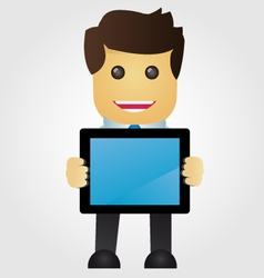 Business man with tablet pc vector