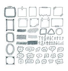 Set of hand drawn arrows speech bubbles frames vector