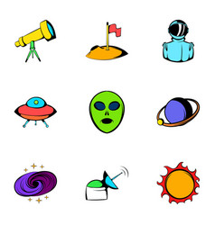 Astronomy icons set cartoon style vector
