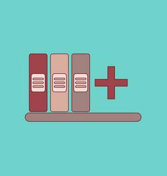 flat icon thin lines shelf folder vector image