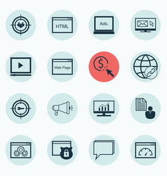 Set of 16 seo icons includes ppc focus group vector