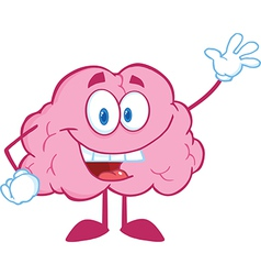 Brain cartoon character waving for greeting vector