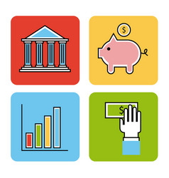 Icons set analytic and investments vector