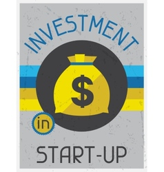 Investment in start-up retro poster flat design vector