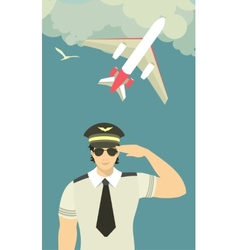 Pilot of the plane on sky background vector