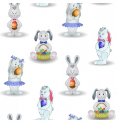 background rabbits with easter egg vector image