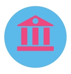 Bank flat pink and blue colors round button vector