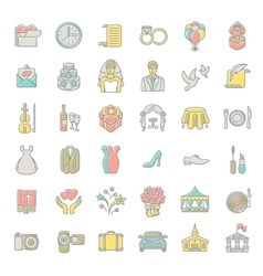 Modern flat linear colorful wedding icons vector