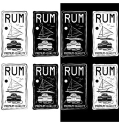 Rum vintage labels set vector