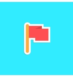 red flag icon sticker isolated on blue background vector image