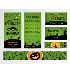 Set of happy halloween greeting cards flyer vector