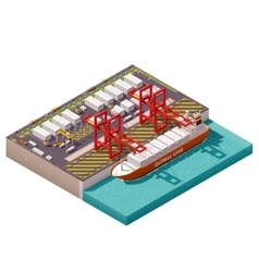 Isometric cargo port vector