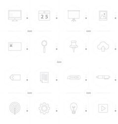 Office icon set 4 design line icons style vector