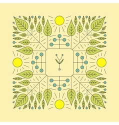 Floral Element Linear Style Eco Line Art vector image