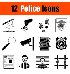 Set of police icons vector