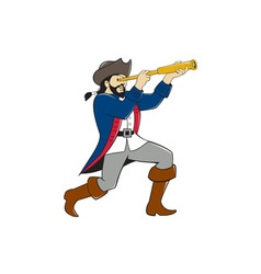 Pirate looking spyglass isolated cartoon vector