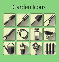 Black gardening icons set over a green background vector