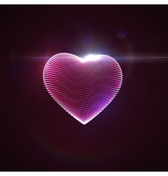 3d illuminated neon heart vector