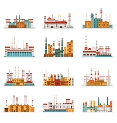 Industrial plant and factory set of icons vector
