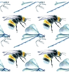 Watercolor bumblebees and dragonfly seamless vector