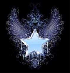 blue star on a dark background vector image