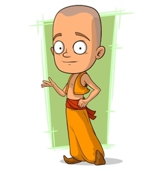 Cartoon young buddhist boy vector
