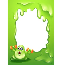 A border design with a monster holding orange vector image vector image