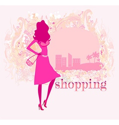 abstract fashion girl Shopping - vector image