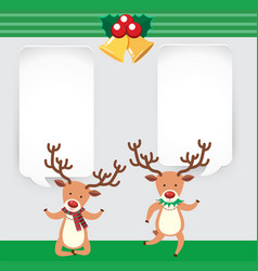 banner template with two cute reindeers vector image
