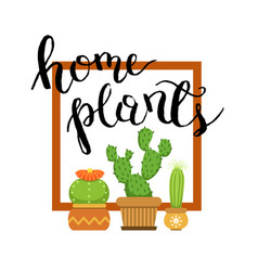 banner with home green plant cactus vector image