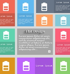 Battery half level Low electricity icon sign Set vector image vector image