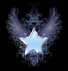 blue star on a dark background vector image