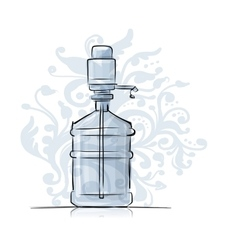 Bottle with distilled water sketch for your vector