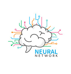 Brain logo design neural network logotype on vector