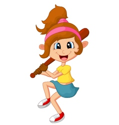 Cartoon girl holding stick base ball vector image