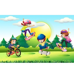 Children skateboarding and riding bike in park vector image